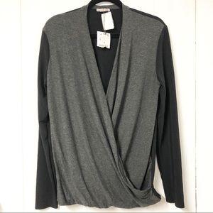 NWT Zara Grey and Black Long Sleeve Draped Top